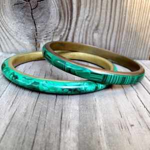 Vintage Malachite & Brass Bangle Pair